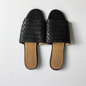 NWOT Black Leather Slides